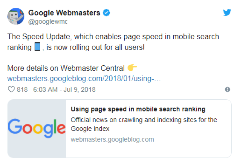 Google Webmasters page speed for local SEO