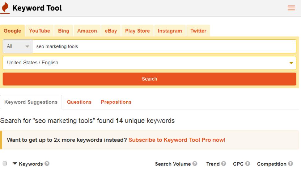 keywordtool.io interface
